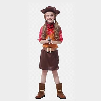 Westworld Západní kovboj Kovbojské kostýmy Dívčí Dětské Úbory Vánoce Halloween Karneval Festival / Svátek Polyester Vybavení Kávová Puntíky