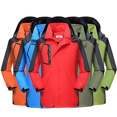 Men's Women's Hiking Jacket Outdoor Winter Waterproof Thermal / Warm Windproof Tracksuit Coverall Skiing Camping / Hiking Leisure Sports Orange / Red / Arm Green
