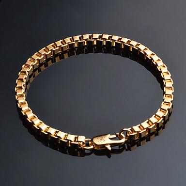 voordelige Herensieraden-Heren Armbanden met ketting en sluiting Cubaanse link Baht Chain Klassiek Vintage Verguld Armband sieraden Goud Voor Dagelijks Toimisto & ura