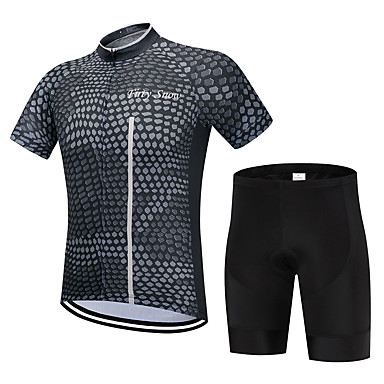 7160d5ef3 FirtySnow Men s Short Sleeve Cycling Jersey with Shorts - Dark Grey Plaid   Checkered  Bike Clothing