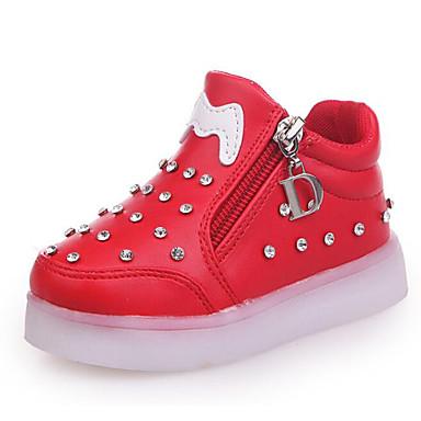 8b7ce99f Chica PU Zapatillas de deporte Niño pequeño (9m-4ys) / Niños pequeños  (4-7ys) Confort / Zapatos con luz Pedrería / Cremallera Negro / Rojo / Rosa  Otoño ...