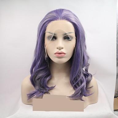 Pruik Lace Front Synthetisch Haar Dames KinkyRecht / Watergolf Donker Grijs Gelaagd kapsel 130% Human Hair Density Synthetisch haar 16 inch(es) Dames / Kleurgradatie Donker Grijs / Paars Pruik Kort