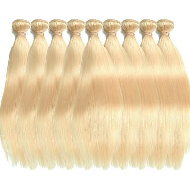 voordelige Extensions van echt haar-Premierwigs haarweefsel Extensions van echt haar Recht Onbehandeld haar Patroon Braziliaans haar Blond 1 Stuk Zacht uitbreiding Dik Dames Blonde