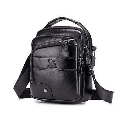 f985e5f2d LAOSHIZI Hombre Bolsos Cuero Bolsa de hombro En Relieve Color sólido Negro  / Marrón