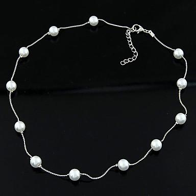 abordables Collier-Collier Femme Classique Imitation de perle simple Mode Elégant Argent 40 cm Colliers Tendance Bijoux 1pc pour Quotidien