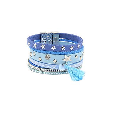 baratos Pulseiras de couro-Mulheres Pulseiras de couro Multi Camadas Estrela Borla Básico Fashion PU Leather Pulseira de jóias Marron / Azul Para Presente Diário