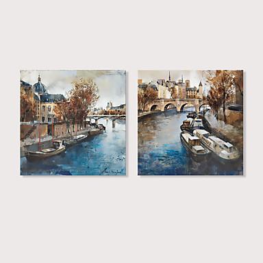billige Trykk-Trykk Strukket Lerret Trykk - Landskap Abstrakte Landskap Moderne Kunsttrykk