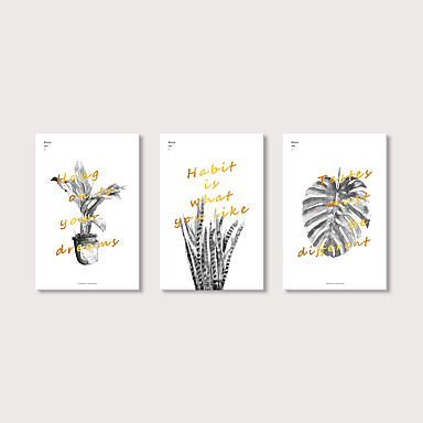 abordables Toiles-Imprimé Impression sur Toile - Moderne A fleurs / Botanique Moderne Trois Panneaux Art Prints