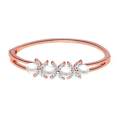abordables Bracelet-Bracelet Jonc Femme Rétro Imitation de perle Elégant Bracelet Bijoux Argent Or Rose Ovale pour Vacances Travail Festival