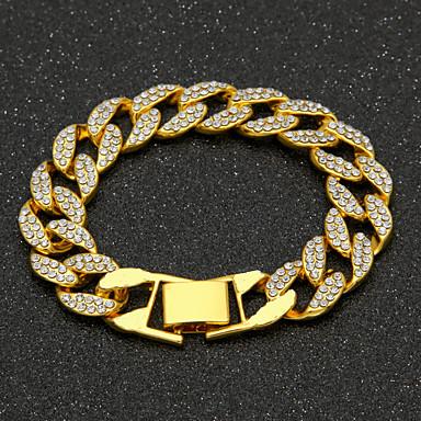 voordelige Herensieraden-Heren Zirkonia Armbanden met ketting en sluiting Cubaanse link Kostbaar Luxe Modieus Hip-hop Hip Hop Iced Out Verguld Armband sieraden Goud / Zilver Voor Dagelijks Werk / Gesimuleerde diamant