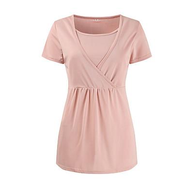 γυναικείο t-shirt - συμπαγές στρογγυλό λαιμό 3f41de3b3db