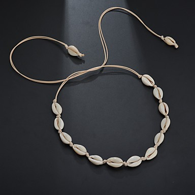 levne Šperky Designer-Dámské dlouhý náhrdelník Pletený Mušle Puka Shell Evropský Moderní Geleneksel Módní Chrome Mušle Bílá Černá 90 cm Náhrdelníky Šperky 1ks Pro Karneval Street Dovolená Festival