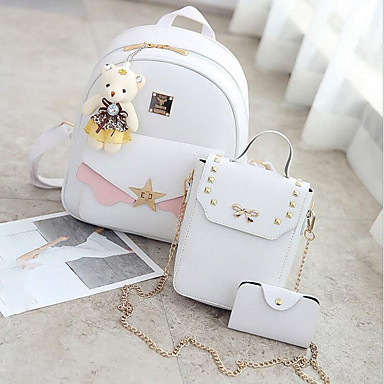fda0386b3d Γυναικεία Τσάντες PU Σετ τσάντα 3 σετ Σετ τσαντών Φερμουάρ Λευκό   Μαύρο   Ανθισμένο  Ροζ