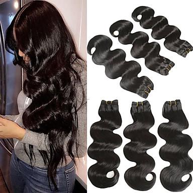 3 pakker Brasiliansk hår Krop Bølge Remy Menneskehår Hairextensions med menneskehår 8-22 tommers Hårvever med menneskehår Myk Beste kvalitet Ny ankomst Hairextensions med menneskehår Dame