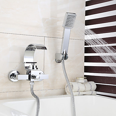Torneira de Chuveiro / Torneira de Banheira - Moderna Cromado Montagem de Parede Válvula Cerâmica Bath Shower Mixer Taps