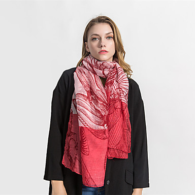 Sleeveless Voile Wedding / Party / Evening Women's Wrap / Women's Scarves With Printing / Color Block Shawls / Scarves