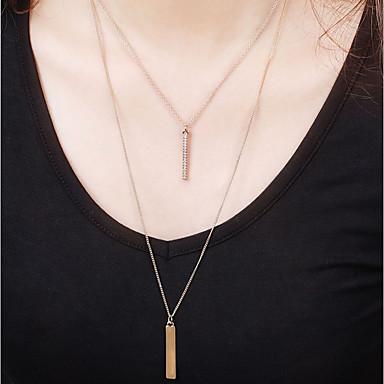hesapli Moda Kolyeler-Kadın's katmanlı Kolyeler Geometrik Mutlu Basit Tatil moda Moda Krom Altın 41 cm Kolyeler Mücevher 1pc Uyumluluk Günlük Okul Dışarı Çıkma Çalışma Doğum Dünü