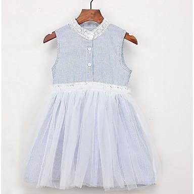 c03b5bffba3 Νήπιο Κοριτσίστικα Ενεργό Καθημερινά Ριγέ Αμάνικο Ως το Γόνατο Πολυεστέρας  Φόρεμα Μπλε Απαλό