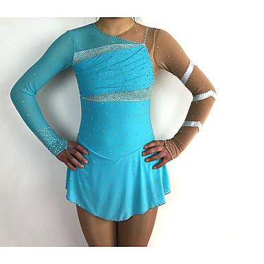 Robe de Patinage Artistique Femme Fille Patinage Robes Bleu Mosaïque Spandex Fil élastique Haute élasticité Compétition Tenue de Patinage Fait à la main Classique Manches Longues Patinage Artistique
