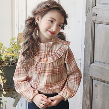baratos Blusas para Meninas-Infantil Para Meninas Activo Quadriculada Manga Longa Camisa Vermelho