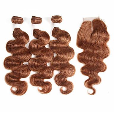 baratos Extensões de Cabelo Natural-3 pacotes com fechamento Cabelo Brasileiro Curva Bouncy Cabelo Natural Remy Extensões de Cabelo Natural Trama do cabelo com Encerramento 10-26 polegada Natural Tramas de cabelo humano Macio Melhor