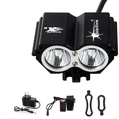 abordables Lampes & Lanternes de Camping-Lampes Frontales Eclairage de Vélo / bicyclette LED Cree® T6 2 Émetteurs 3000 lm 4.0 Mode d'Eclairage avec Pile et Chargeur Imperméable Rechargeable Urgence Cyclisme