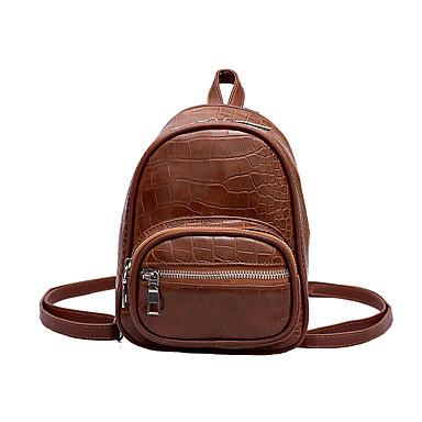 女性用 バッグ PU バックパック ジッパー ブラウン / ブラック / コーヒー