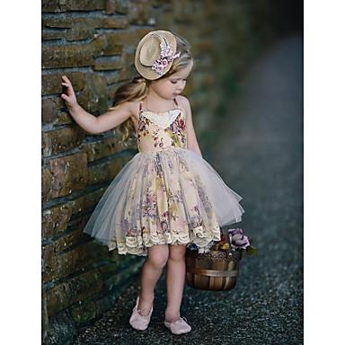 זול תינוק & ילדים-שמלה ללא שרוולים מנוקד בסיסי בנות ילדים / כותנה