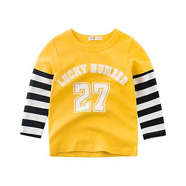 baratos Camisas para Meninos-Infantil Para Meninos Básico Diário Escola Listrado Manga Longa Padrão Algodão Camiseta Bege
