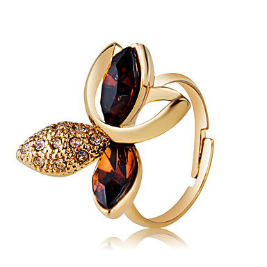 voordelige Ring-Dames Helder Kristal Retro Ring Verstelbare ring Verguld Gesimuleerde diamant Bloem Statement Artistiek Uniek ontwerp Modieuze ringen Sieraden Goud Voor Feest Avond Feest Bar Verstelbaar