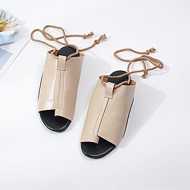 저렴한 여성 샌달-여성용 구두 PU 여름 샌들 플랫 일상 용 블랙 / 레드 / 카키