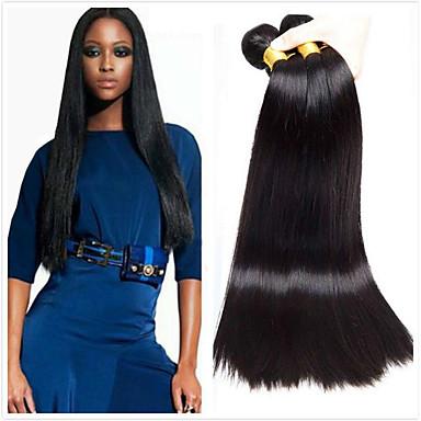 4 pakettia Perulainen Suora Käsittelemätön aitoa hiusta Hiukset kutoo Bundle Hair Aitohiuspidennykset 8-28 inch Luonnollinen väri Hiukset kutoo Pehmeä Silkkinen Paras laatu Hiukset Extensions Naisten