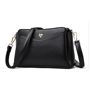 สำหรับผู้หญิง กระเป๋าต่างๆ PU กระเป๋าสะพาย กระดุม / ซิป สีทึบ สีเทา / สีม่วง / สีน้ำตาล