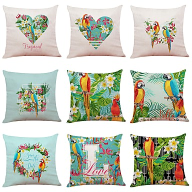 9 Pcs Linen Pillow Cover Special Design Fl Print Contemporary European Tropical