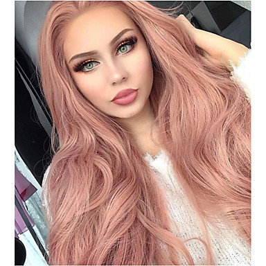 cheap Synthetic Lace Wigs-Synthetic Lace Front Wig Natural Wave Kardashian Style Middle Part Lace Front Wig Natural Black Pink Synthetic Hair 20-26 inch Women's Natural Hairline Rose Pink Wig Long Sylvia 180% Density