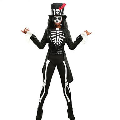 noita Cosplay-Asut Hatut Aikuisten Naisten Yksiosainen Halloween Halloween Karnevaali Masquerade Festivaali / loma Polyesteria Musta Karnevaalipuvut Pääkallot Tulostus