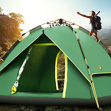 Sheng yuan 4 איש משפחה אוהל קמפינג חיצוני עמיד מוגן מגשם נשימה שכבה כפולה אוטומטי קמפינג אוהל >3000 mm ל מחנאות / צעידות / טיולי מערות בד אוקספורד 213*215*135 cm