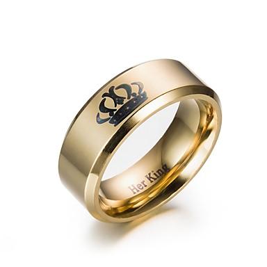 voordelige Herensieraden-Heren Ring Verlovingsring 1pc Goud Zwart Roestvrij staal Cirkelvormig Verloving Lahja Sieraden Kroon Goedkoop Schattig