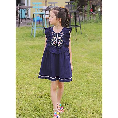 dc83c7b92a84 Kids Girls' Sweet Floral Print Sleeveless Asymmetrical Cotton Linen Dress  Blushing Pink