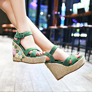 cheap Going to the beach-Women's Synthetics Spring &  Fall / Spring & Summer Sweet / Minimalism Sandals Wedge Heel Open Toe Green / Blue