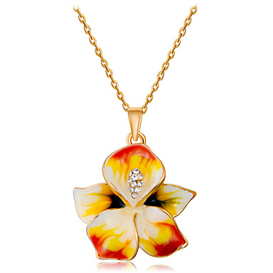 cheap Necklaces-Women's Clear Cubic Zirconia Pendant Necklace Rustic Sweet Elegant Zircon Copper Gold Plated Gold 45 cm Necklace Jewelry 1pc For Daily Evening Party Formal