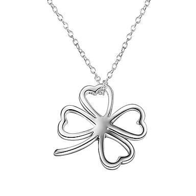 10e8a9926df2 Mujer Clásico Collares con colgantes Collares de cadena Collar Plateado  Clover Simple Básico Romántico Dulce Bonito