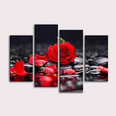 abordables Toiles-Imprimé Impressions sur toile roulées Impression sur Toile - Romance A fleurs / Botanique Moderne Quatre Panneaux Art Prints