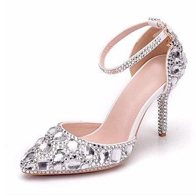 b3896879972 Women s PU(Polyurethane) Spring   Summer Sweet Wedding Shoes Stiletto Heel  Pointed Toe Rhinestone   Sparkling Glitter Silver   Party   Evening