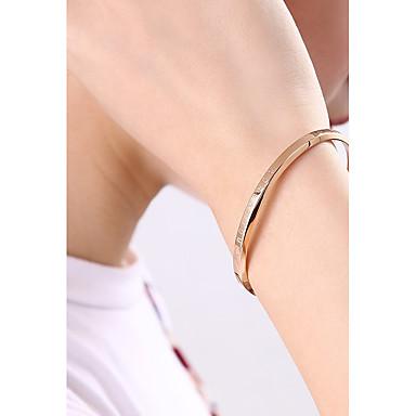 baratos Bangle-Mulheres Bracelete Pulseira de caligrafia Simples Aço Titânio Pulseira de jóias Ouro Rose Para Presente Encontro