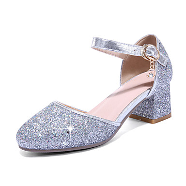 cheap Women's Shoes New Arrivals-Women's PU(Polyurethane) Spring & Summer Sweet / British Heels Chunky Heel Round Toe Sequin / Buckle Gold / Silver / Pink