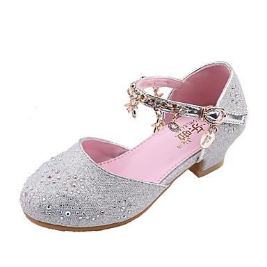 ieftine Pantofi de Copii-Fete PU Tocuri Toddler (9m-4YS) / Copii mici (4-7 ani) / Copii mari (7 ani +) Pantofi Fata cu Flori Funde Auriu / Argintiu / Roz Primavara vara / Toamna iarna / Party & Seară / Cauciuc