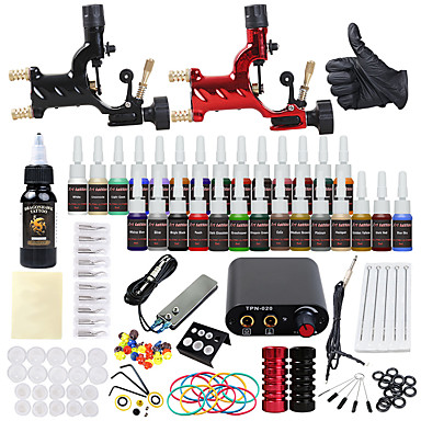 Χαμηλού Κόστους Ομορφιά και μαλλιά-DRAGONHAWK Μηχανή τατουάζ Βασικό Σετ - 2 pcs Μηχανήματα τατουάζ με 1 x 30 ml / 28 x 5 ml μελάνια τατουάζ, επαγγελματικό Επίπεδο, Όλα σε ένα, Εύκολη εγκατάσταση Κράμα Μίνι Τροφοδοσία No case 2 x