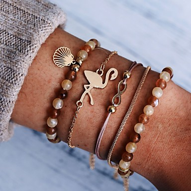 abordables Bracelet-5pcs Bracelet à Perles Bracelet Pendentif Femme Multirang Flamant Infini Coquillage Décontracté / Sport Ethnique Mode Bracelet Bijoux Dorée pour Vacances Sortie Travail