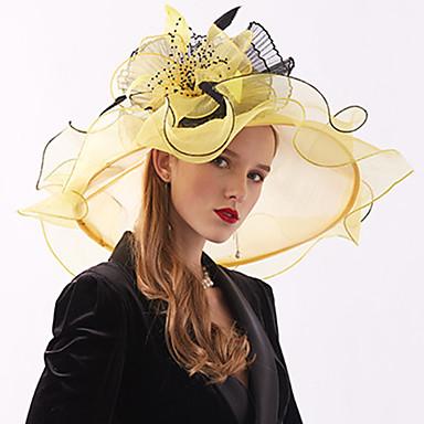 billige Hodeplagg til fest-organza / Fjær / Nett Kentucky Derby Hat / fascinators / Hodepryd med Fjær / Blomst 1 Deler Bryllup / utendørs Hodeplagg
